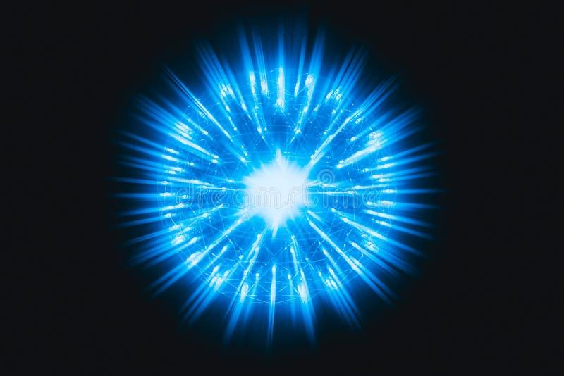 Jądro Jądrowy atom wybucha atomowej bomby promienia napromieniania błękita gorącego światło ilustracja wektor