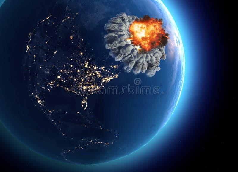 Jądrowa bomba Wojna między narodami, wybuch, kataklizm wygaśnięcie Wroga atak ilustracji