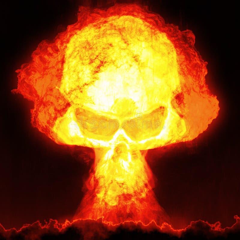Jądrowa bomba z czaszką ilustracja wektor