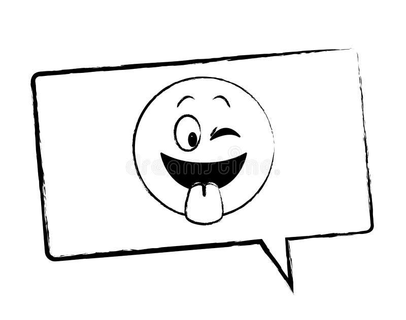 Jęzoru out emoticon w bąbla nakreśleniu royalty ilustracja