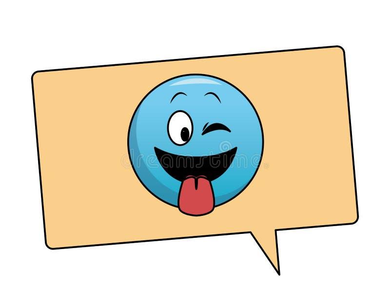 Jęzoru out emoticon w bąblu ilustracji