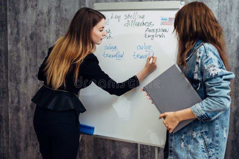Język angielski szkoła Dwa żeńskiego ucznia opowiada w sali lekcyjnej obraz royalty free