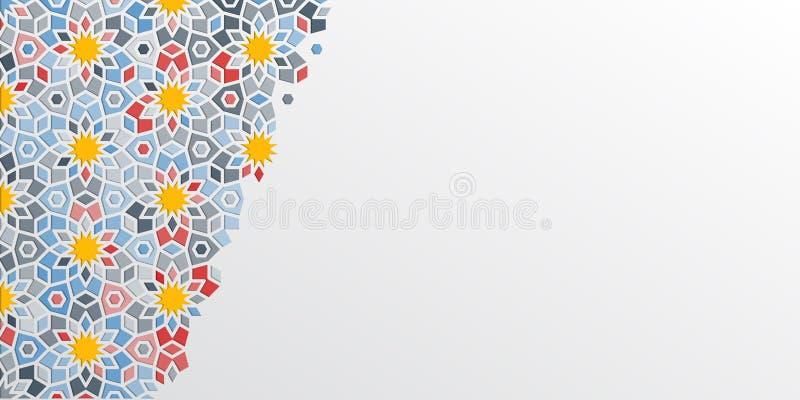 Język arabski islamski wzór maroka Tekstylny ornament Arabska kwiecista granica Islamski ornamentu wektor ornamentacyjny schematu ilustracja wektor