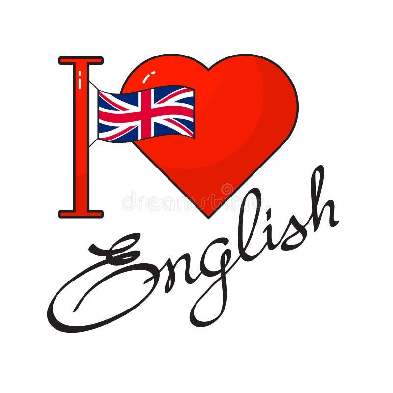 Języka angielskiego dnia pojęcie Flaga, kierowego i ręcznie pisany słowo, royalty ilustracja