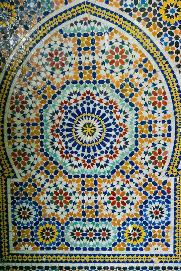 Języka arabskiego wzór, orientalny islamski ornament Marokańczyk płytka lub Marokańskiego zellij tradycyjna mozaika, fotografia royalty free
