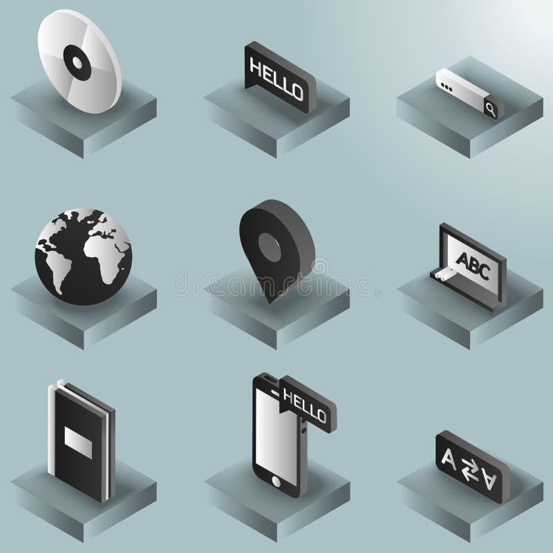 Języka koloru gradientowe isometric ikony ilustracji
