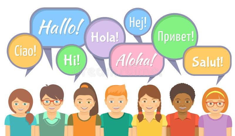 Językowa szkoła z Szczęśliwymi dzieciakami mówi cześć royalty ilustracja