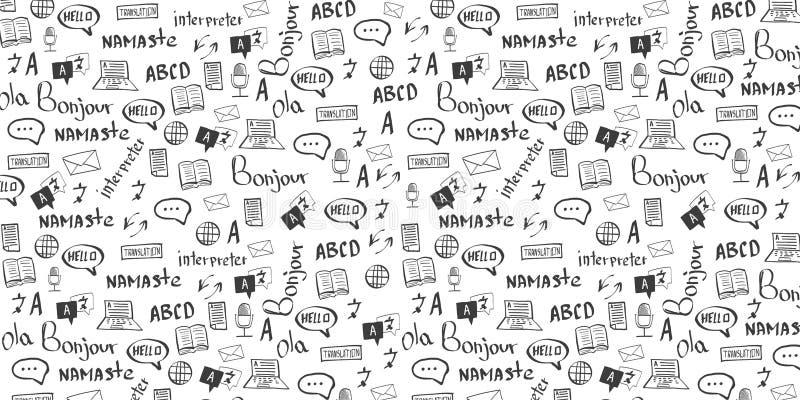 Językowy tłumacza sztandar z remisu doodle na tle Pojęcie tłumaczyć agencji i interpretować ilustracji