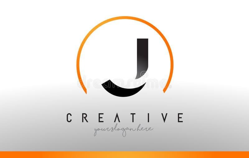 J信件与黑橙色颜色的商标设计 凉快的现代象T 皇族释放例证