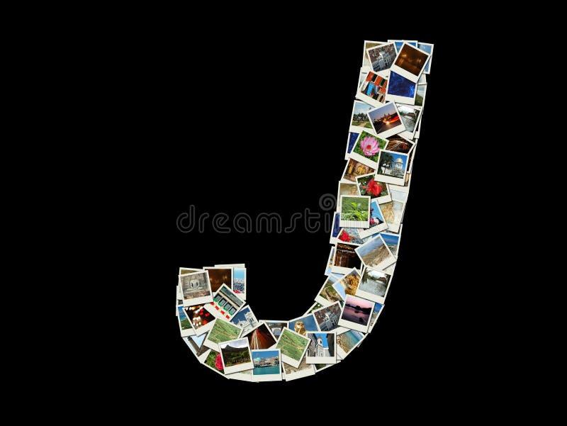 J信函-旅行照片拼贴画  免版税图库摄影