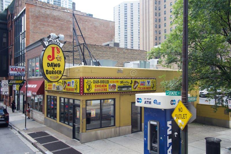 J的Dawg和汉堡,芝加哥,伊利诺伊先生 库存照片