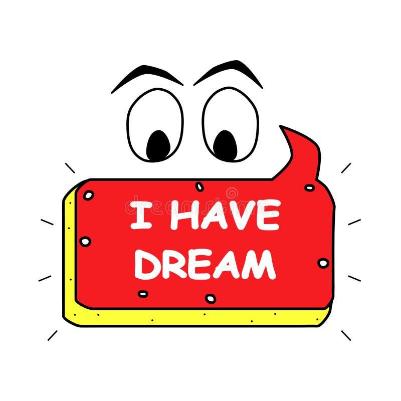 J'ai l'icône rêveuse, affiche Illustration de logo d'élément, insigne Objet d'ensemble Autocollant de Web, bannière des textes illustration libre de droits