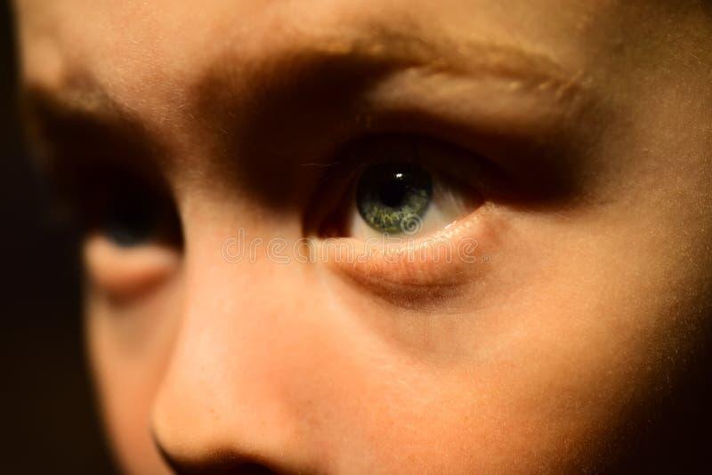 J'ai la mauvaise vue Oculiste prescrire la lentille corrective Peu garçon avec la vue pauvre d'oeil Petit verre de contact d'usag photographie stock