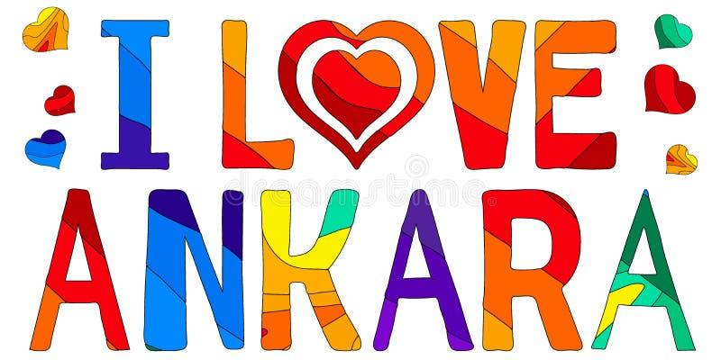 J'aime Ankara - inscription multicolore mignonne illustration stock