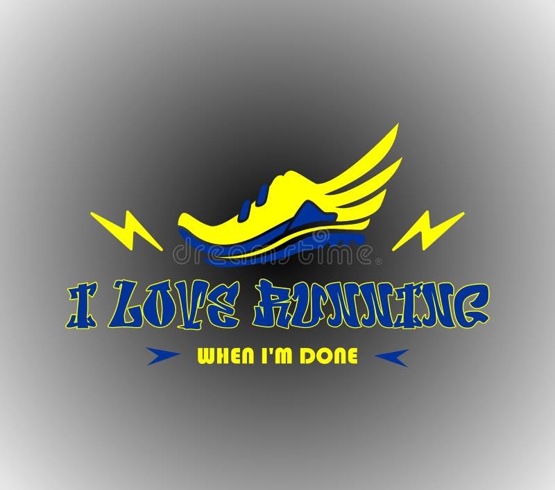 J'aime courir, logo courant, coureur illustration de vecteur