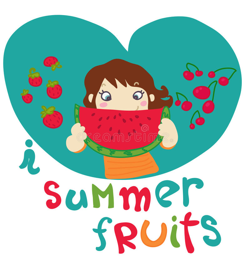 J'aime des fruits d'été illustration libre de droits