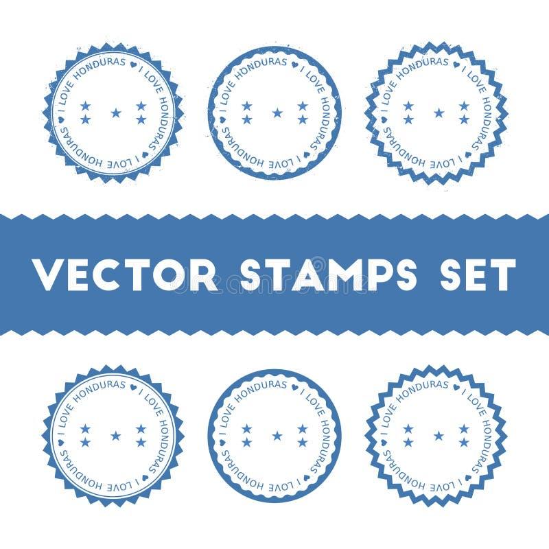 J'aime des timbres de vecteur du Honduras réglés illustration libre de droits