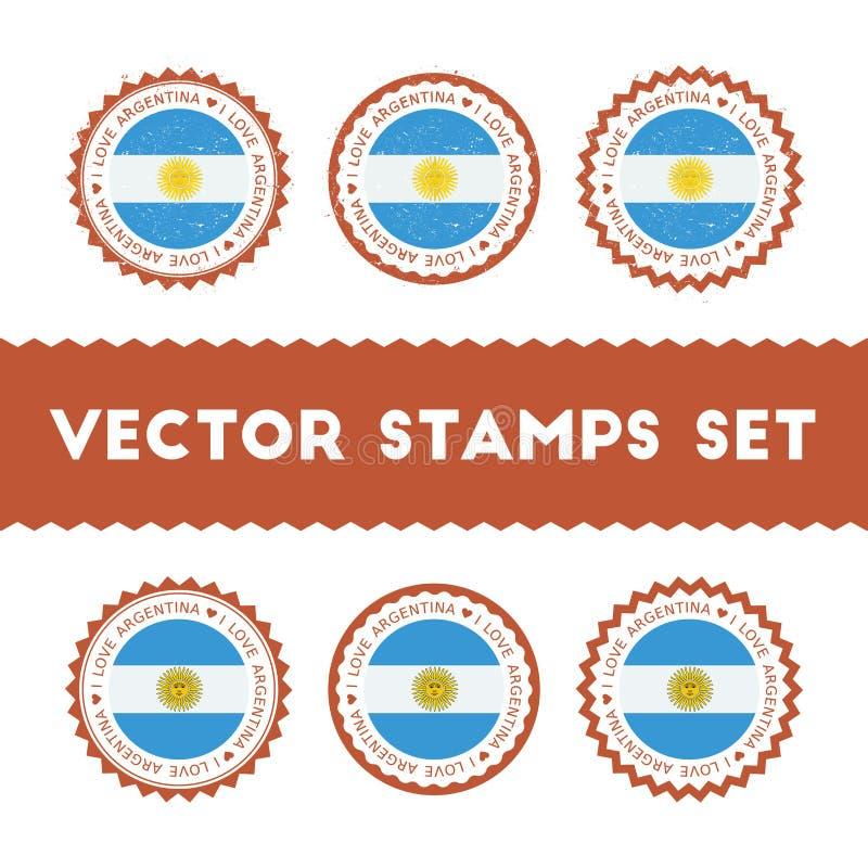 J'aime des timbres de vecteur de l'Argentine réglés illustration de vecteur
