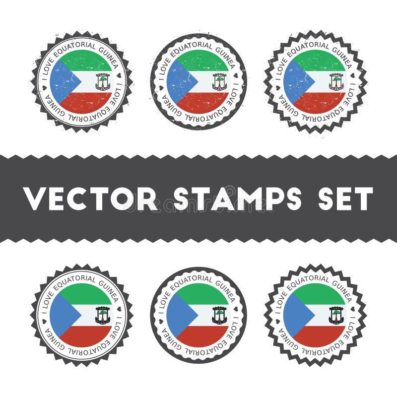 J'aime des timbres de vecteur de la Guinée équatoriale réglés illustration libre de droits