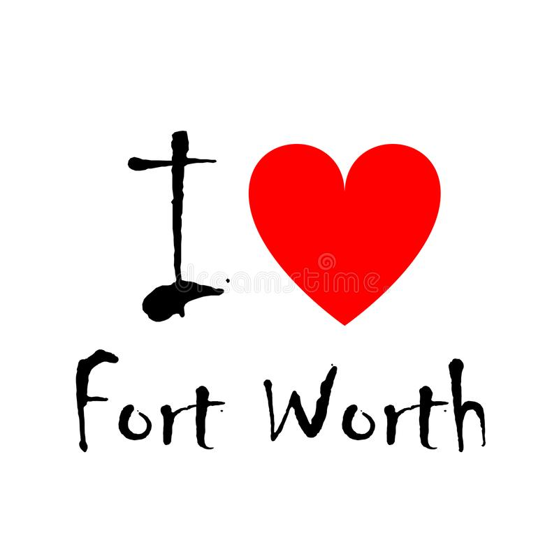J'aime Fort Worth, logo illustration de vecteur