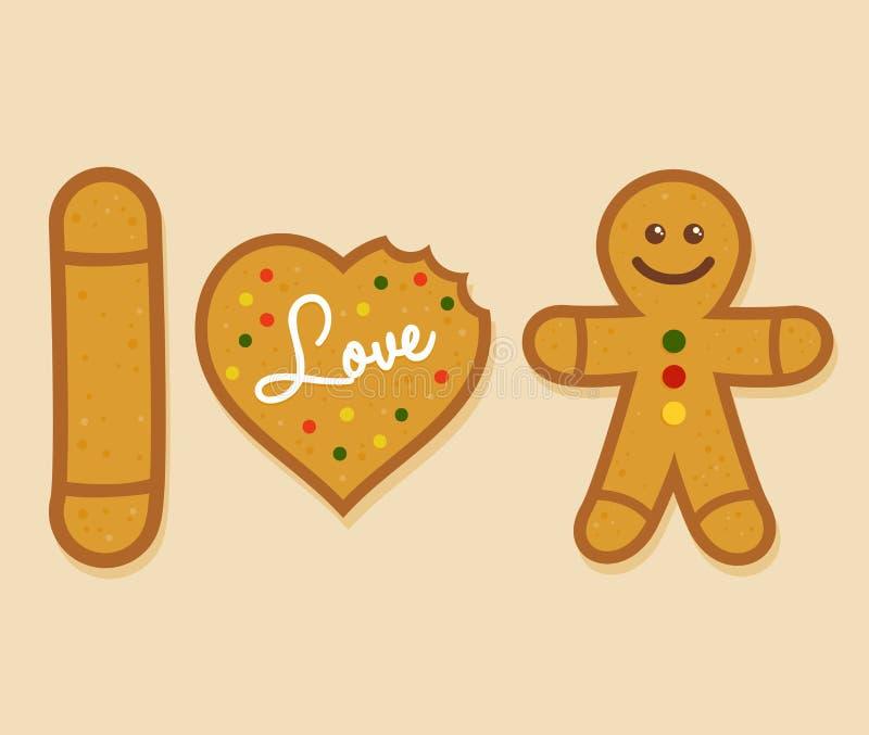 J'aime Ginger Bread Man illustration de vecteur