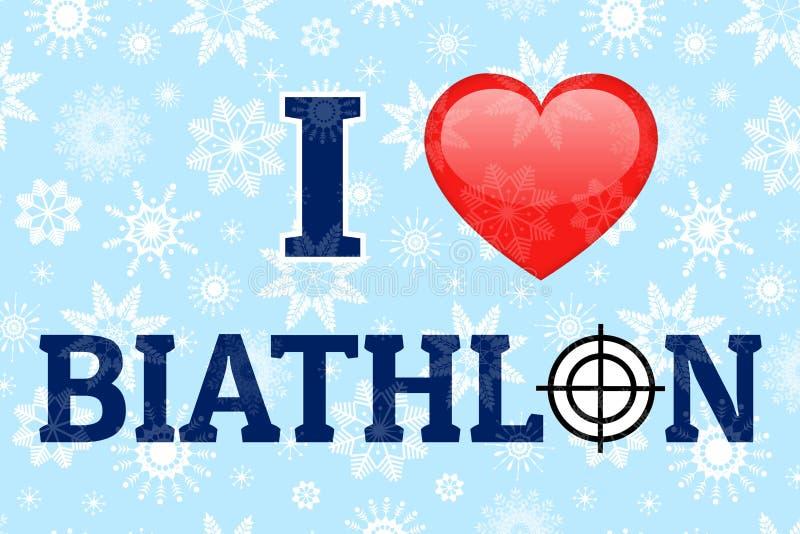 J'aime l'affiche de vecteur de biathlon Symbole et texte de coeur d'amour Fond de sports d'hiver La bonne idée pour des vêtements illustration stock