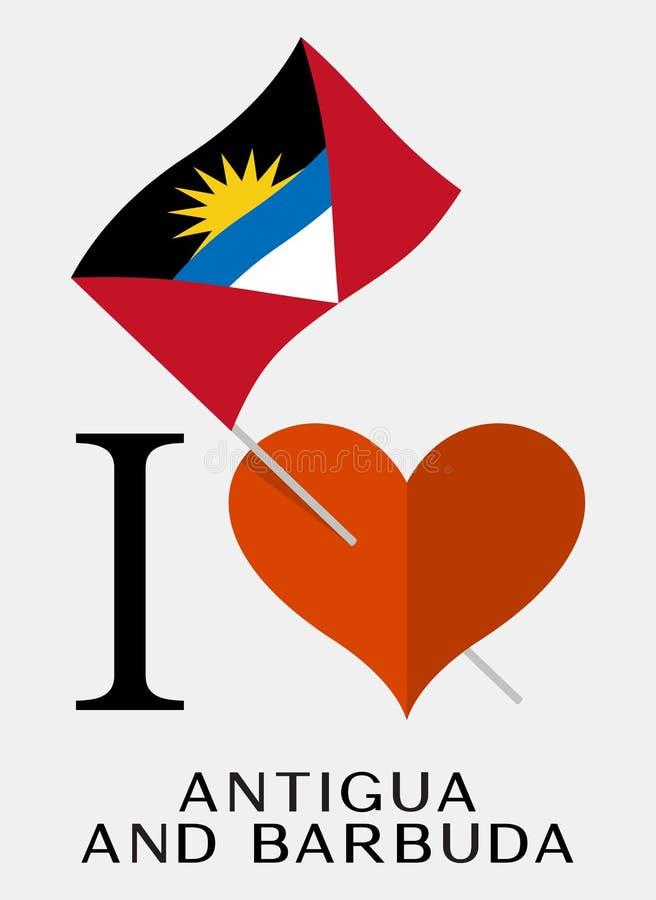 J'aime l'Antigua-et-Barbuda illustration stock