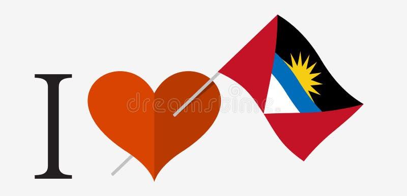J'aime l'Antigua-et-Barbuda illustration libre de droits