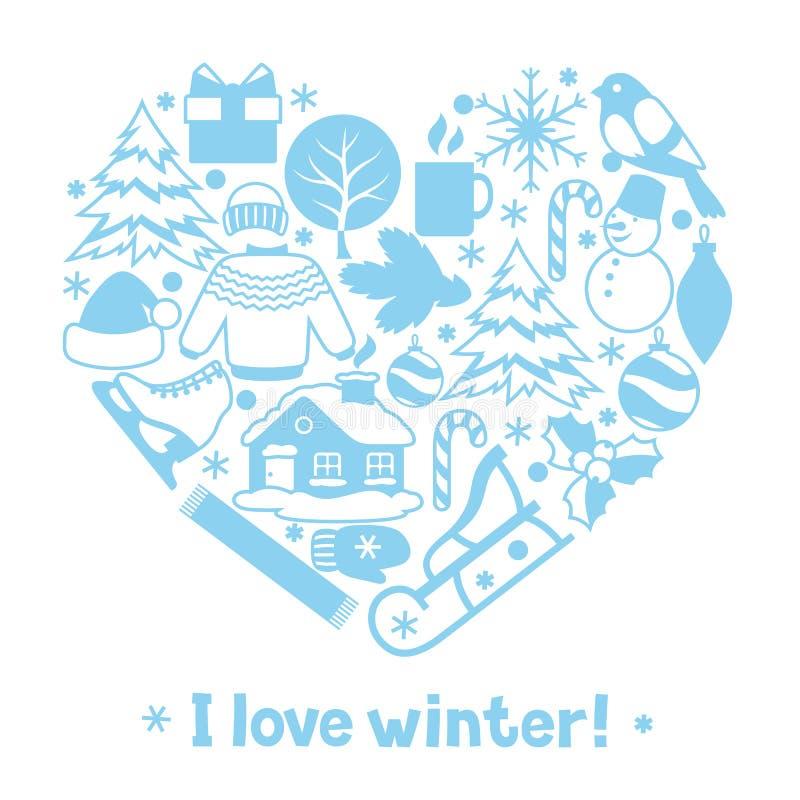 Download J'aime L'hiver Articles De Vacances De Joyeux Noël, De Bonne Année Et Symboles Illustration de Vecteur - Illustration du fond, oiseau: 77156748