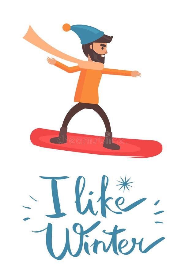 J'aime l'illustration de vecteur de surfeur d'hiver illustration libre de droits