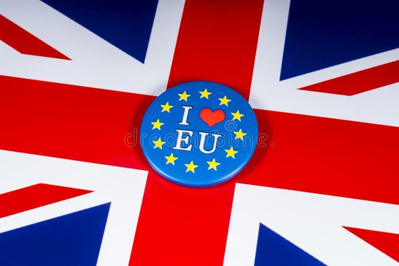 J'aime l'UE photographie stock libre de droits