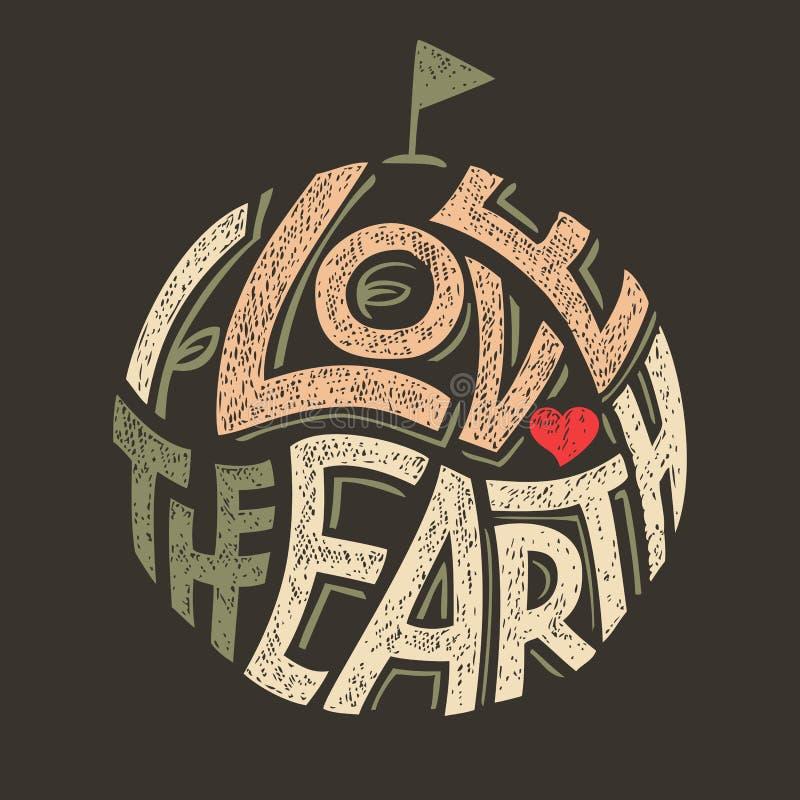 J'aime la conception de T-shirt de la terre illustration de vecteur