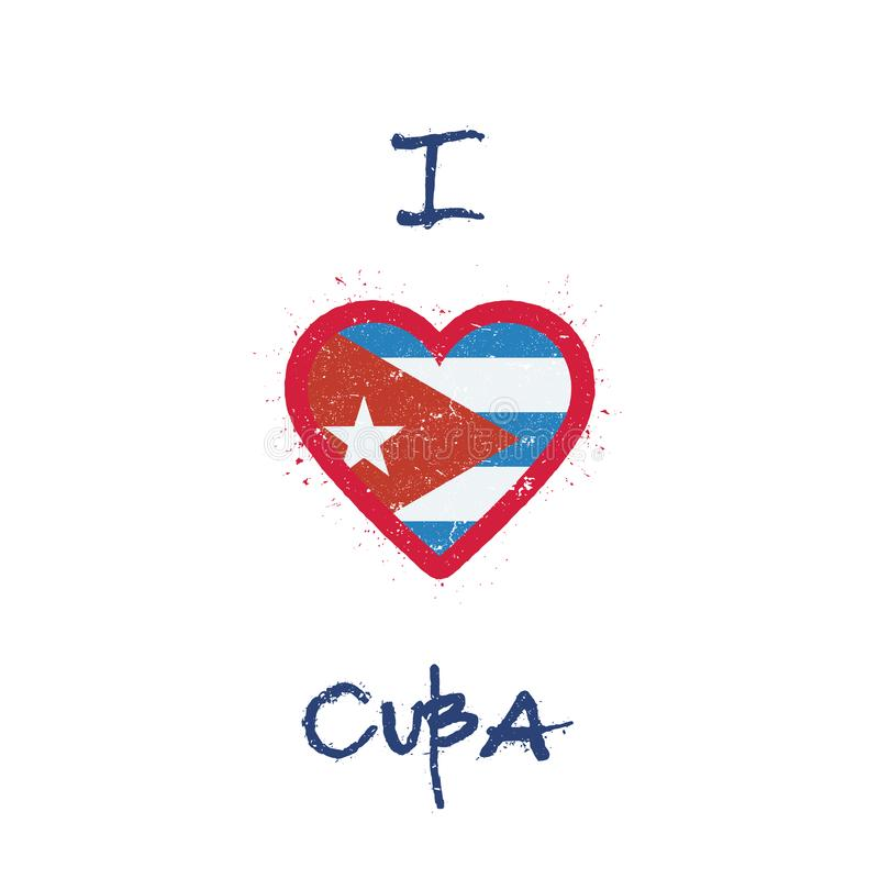 J'aime la conception de T-shirt du Cuba illustration stock
