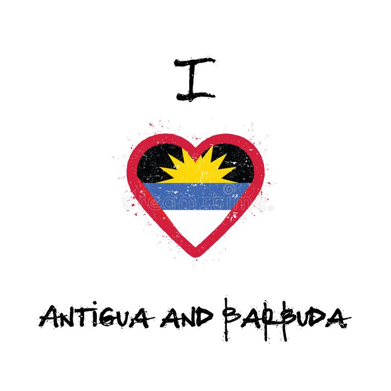 J'aime la conception de T-shirt de l'Antigua-et-Barbuda illustration stock