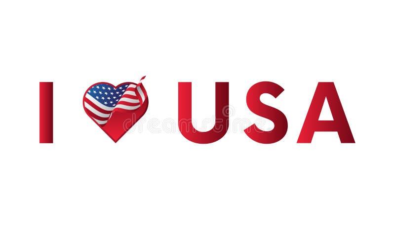 J'aime la conception de vecteur de slogan d'autocollant des Etats-Unis avec le coeur et l'icône de ondulation de drapeau illustration libre de droits