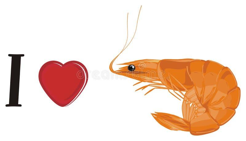 J'aime la crevette illustration stock