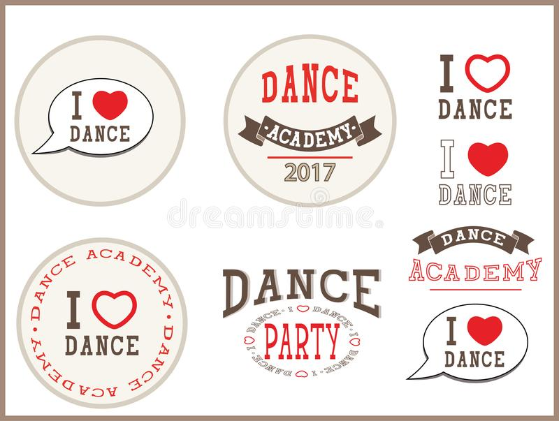 J'aime la danse, académie de danse, soirée dansante - éléments, signe, autocollants, carte, calibres, emblèmes, icônes illustration de vecteur