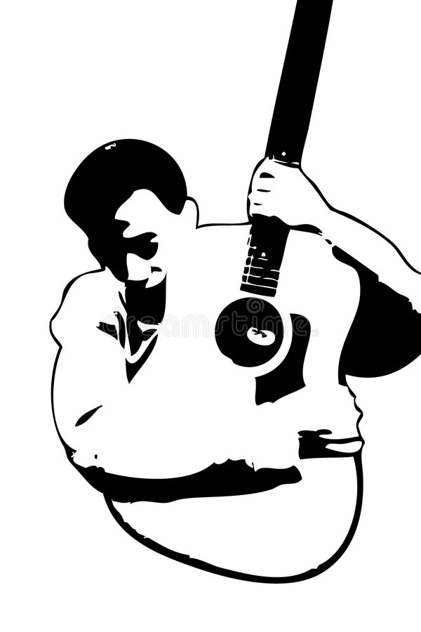 J'aime la guitare illustration stock