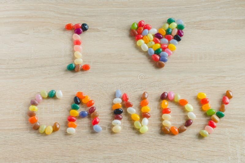 J'aime la sucrerie des dragées à la gelée de sucre photo libre de droits