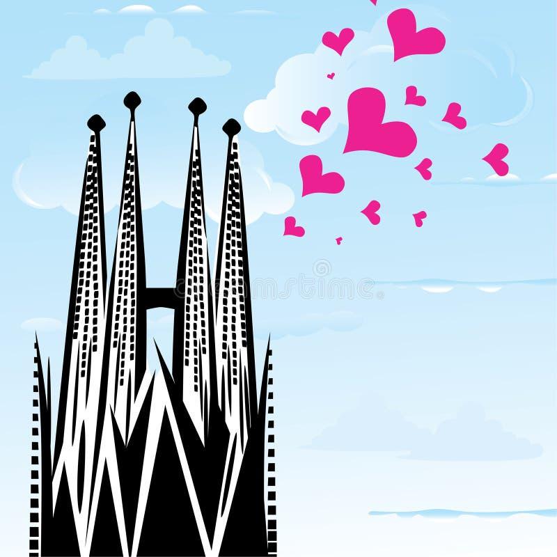 J'aime la ville Barcelone, Espagne de ville illustration de vecteur