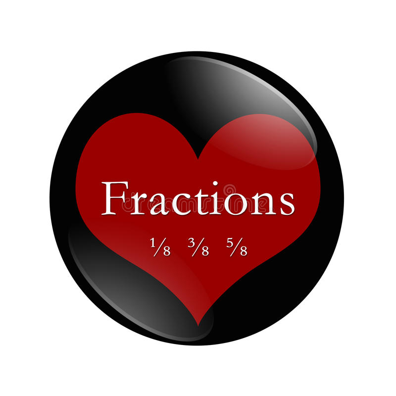 J'aime le bouton de fractions illustration stock