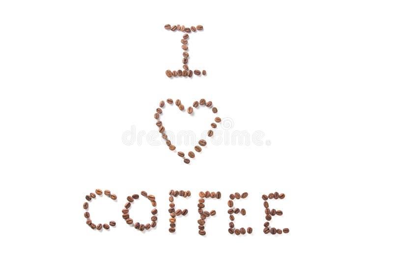 J'aime le café - texte au-dessus de blanc image stock