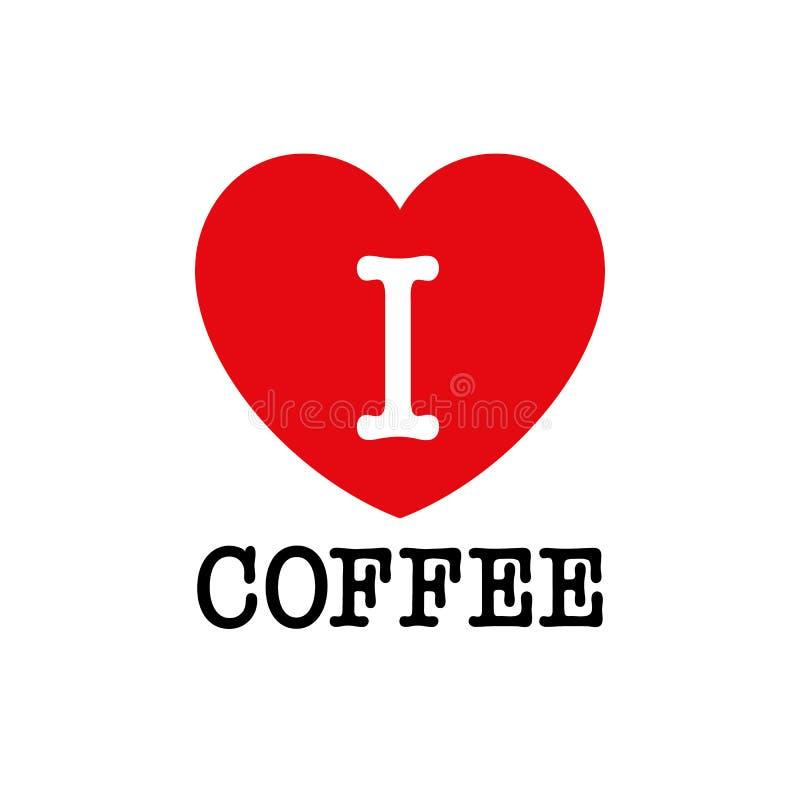 J'aime le café, type de police avec le signe de coeur illustration libre de droits
