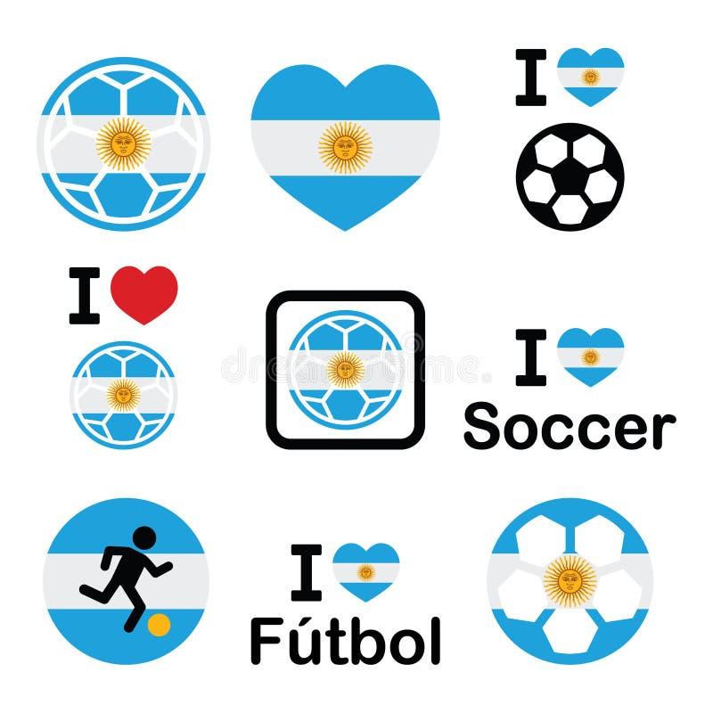 J'aime le football argentin, icônes du football réglées illustration libre de droits