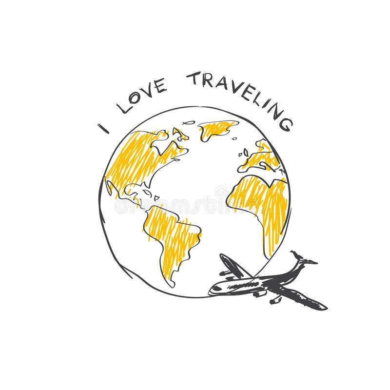 J'aime le globe de Logo Airplane Flying Around World de croquis de Trabeling d'isolement sur le fond blanc illustration de vecteur