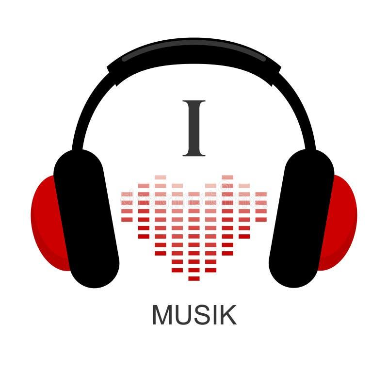 J'aime le musik Écouteurs et onde sonore au coeur de forme palonnier illustration stock