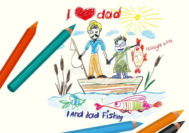 J'aime le papa Jour de pères heureux illustration libre de droits