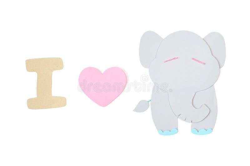 J'aime le papier d'éléphant coupé sur le fond blanc image libre de droits