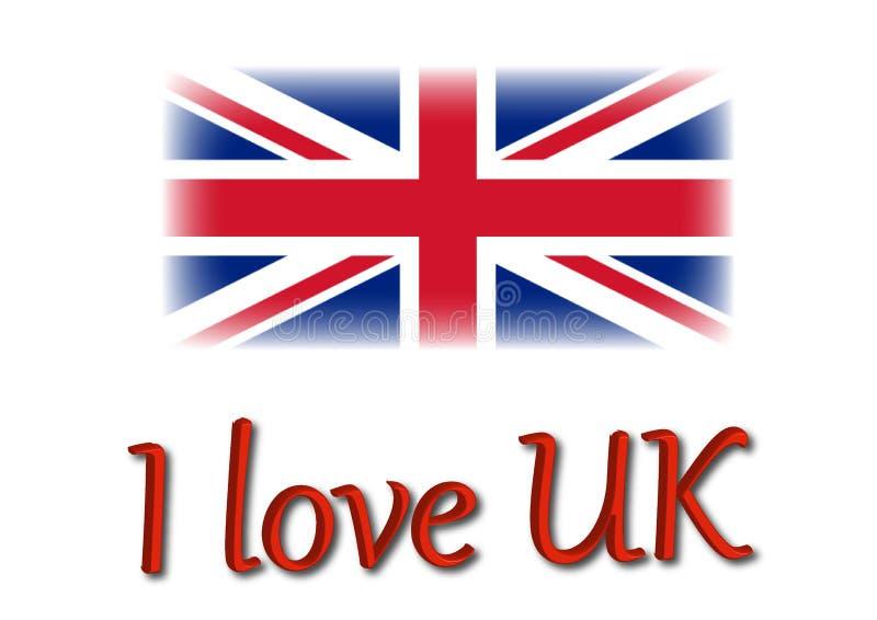 J'aime le R-U écris avec l'illustration britannique de drapeau illustration libre de droits