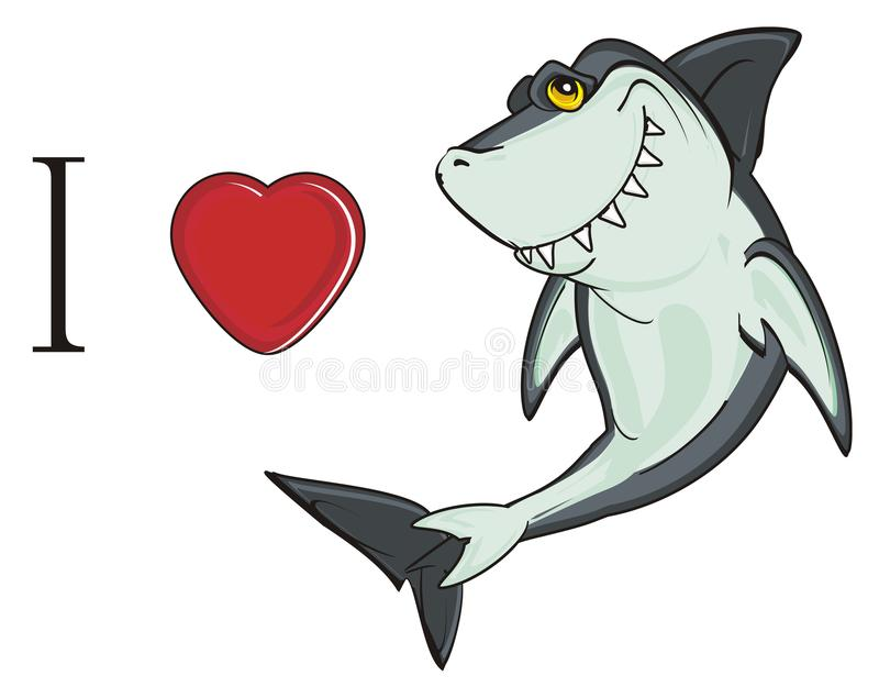 J'aime le requin illustration de vecteur